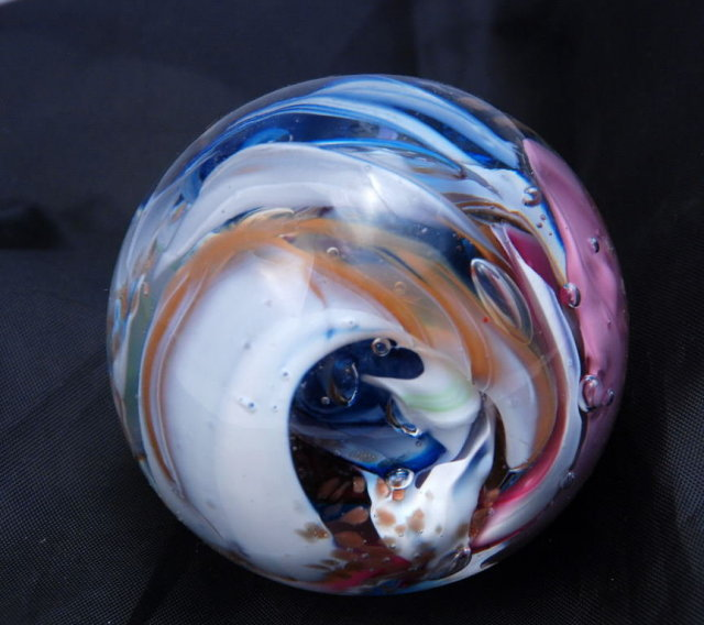 Beautiful  Multi colored Swirl large Paperweight, Signed by Robert Hamon.