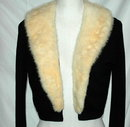 Vintage Black Cashmere Sweater with White Mink Collar.