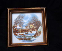 Framed Art Tile Currier & Ives Scene