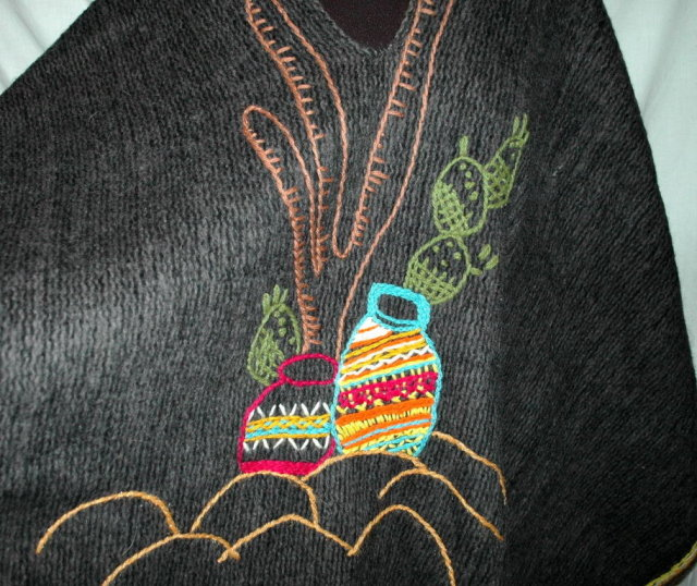Mexican Thick  Wool  Poncho Serape , hand embroidered, Vintage/  Hombre Cactus Motif