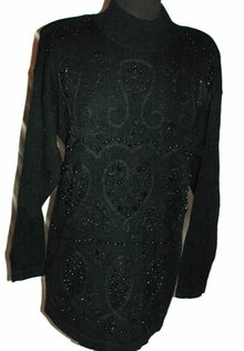 Vintage Black Beaded Sweater, Heart Motif  OHI  Size Med.