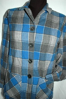 Pendleton 49'er Jacket Wool Plaid Blue, Gray  Petite   **PRICE REDUCED**!
