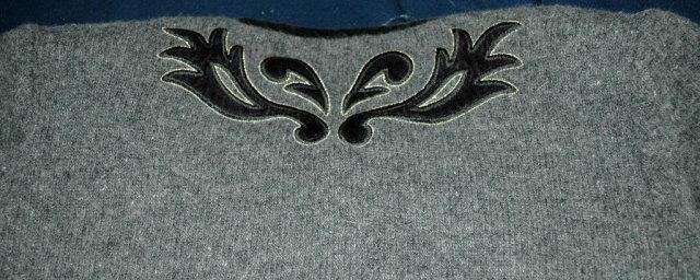 Vintage  Simone Wool Cardigan Sweater, Grey with Black Velvet  Trim & Applique
