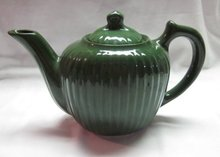 Vintage Green, ribbed Teapot by Fraunfelter China of Ohio