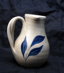 Williamsburg Salt Glaze Stoneware  Pottery Pitcher with Cobalt Blue Leaves