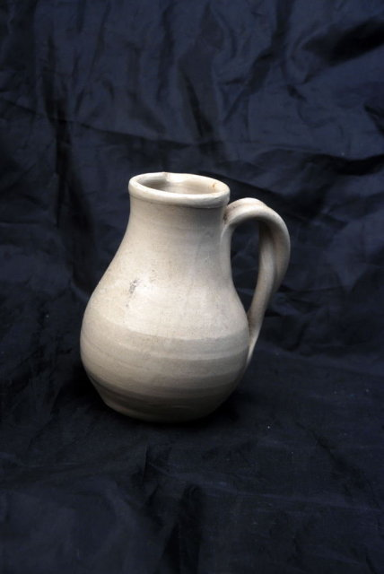 Williamsburg Salt Glaze Stoneware  Pottery Pitcher with Cobalt Blue Leaves