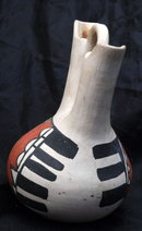 OLD  Wedding Vase Old South West Native American Indian Pottery , Signed Anselmo or Anselma Carraseo