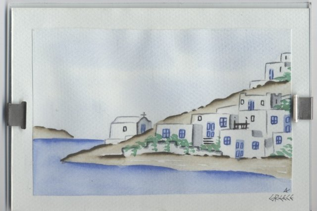 Small Water Color Waterway / Church Scene in Greece * PRICE REDUCED**!!