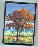Small Oil Painting on Canvas of Fall Tree & People in Park setting  Signed