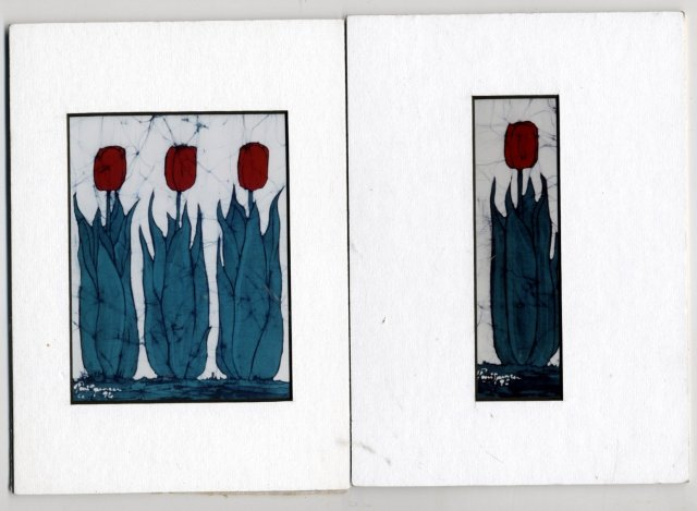 Two Small Batik Tulip Pictures  Photo Prints