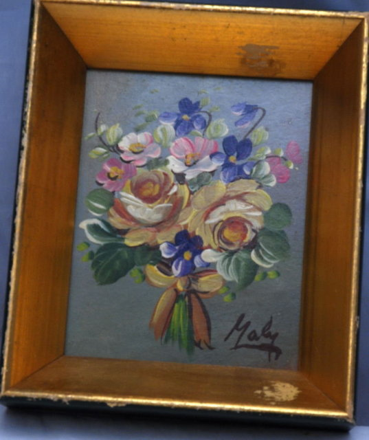Small Floral Bouquet Oil Painting in Frame