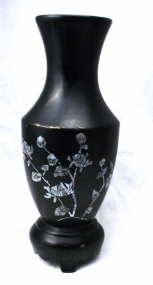 Black Lacquer-ware Wood Vase with Abalone Shell Inlay