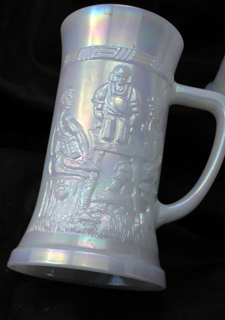 4 Vintage Fire King Opalescent Glass Beer Steins Oktoberfest