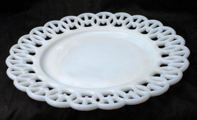 Westmoreland Milk Glass Plate Wicker Edge 9