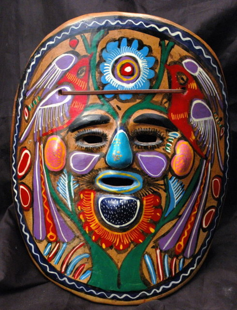 Mexican Talavera Folk Art  Mask  Red Clay Pottery
