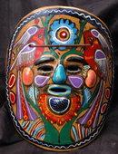 Mexican Talavera Folk Art  Mask  Red Clay Pottery