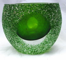 Murano  Sommerso Green Glass Bowl or Votive , Frosted Texture with Ground Polished Panels Thick Heavy