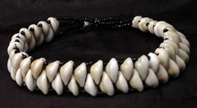 Double Row Cowrie Shell and Black Glass Bead Choker Necklace   **PRICE REDUCED**!