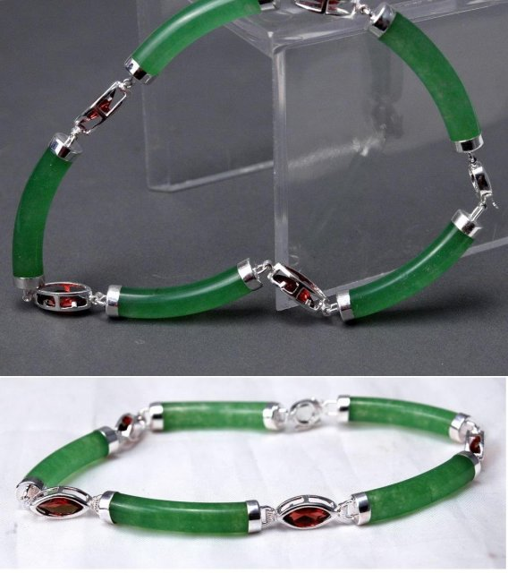 Chrysoprase & Garnet Sterling Links Bracelet