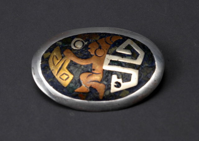 Metales Casados Mix Metal Sterling Mexican Diety  Brooch/ Pin