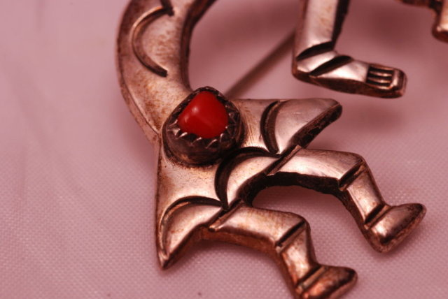 Old Native American Indian Sterling Silver and Red Coral Kokopelli   Brooch / Pin
