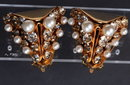 Big Flashy Leru Clip on Earrings White Rhinestones & Pearls in Mod Goldtone Setting