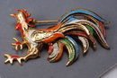 Rooster Spain Damascene Enamel Vintage Pin Brooch