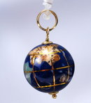 14k gold & lapis  globe charm or pendant. inlaid with other semi-precious gemstones