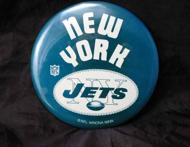 Vintage New York Jets NFL Pinback Button  Oversized 6