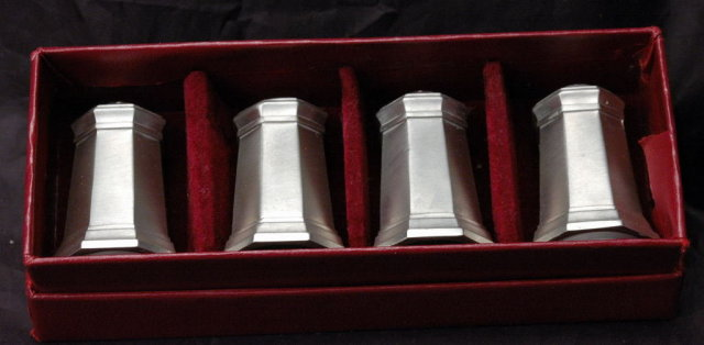 Gorham Pewter Salt, Pepper Shaker Set of 4 in box