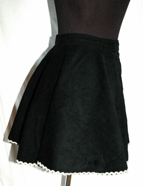 Black Corduroy  Skating Skirt with Rick Rack Trim