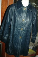 Retro Mod Blue Leather Jacket Coat Turn Lock Closure
