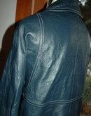 Retro Mod Blue Leather Jacket Coat Turn Lock Closure