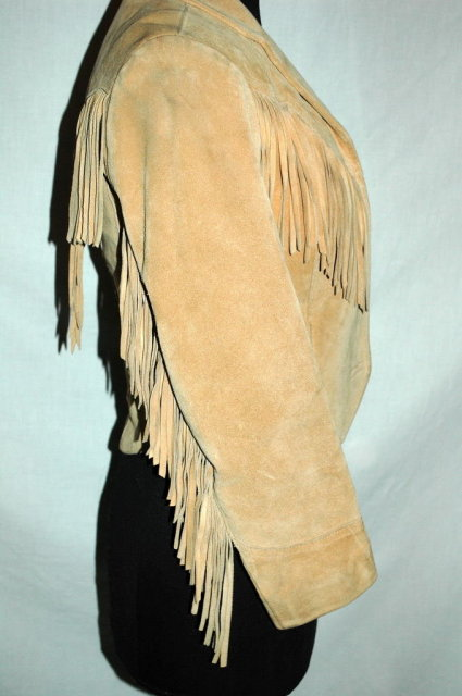 Suede Leather Fringe Fitted  Jacket -Pioneer Wear size 6