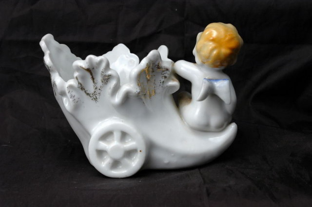 Cherub Angel Cornucopia Planter Porcelain, Made in Japan