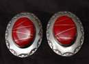 Navajo Sterling Coral Earrings  F.M. Begay   Large Conchos
