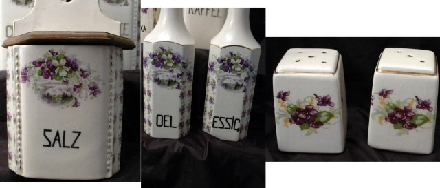 11 Pc Canister Set Purple Violets with Salt Box Old German Porcelain