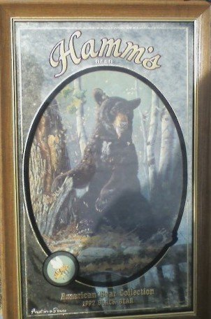 HAMM'S BREWERY ADVERTISING BEER WOOD FRAMED MIRROR  BLACK  BEAR WITH HONEY BEE  1ST IN  THE SERIES