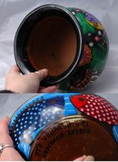 Mexican Folk Art Talavera  Pottery ,  Large Two Handled Pot  or Jardiniere signed Lazaro.