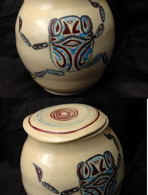 Ethnic Frog Design Studio Pottery Stoneware Jar with Lid