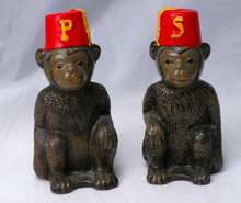 Monkey wearing  a Fez Salt and Pepper  Shaker set