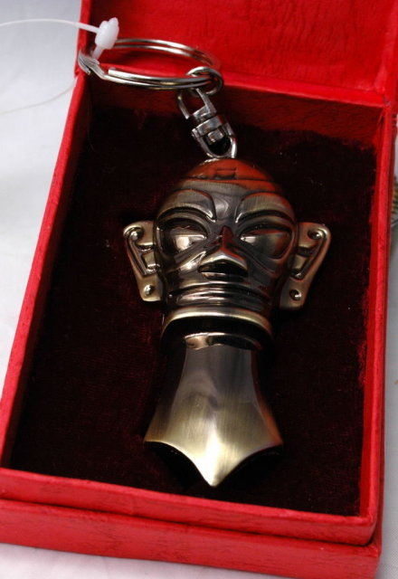 Bushed Brass Tiki or other Tribal Mask Bottle , Can Opener Key Chain with Box