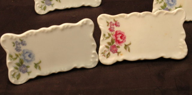 8 Vintage Porcelain Place Card Stands