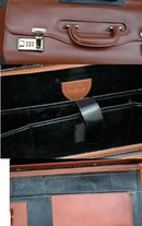 Leather Business Travel Computer & Files Luggage Case , Wheeled with Telescoping Handle, Saint James / Randy