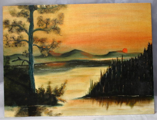 Original Unsigned Painting of Sunset over Mountains, Lake Forest Scene