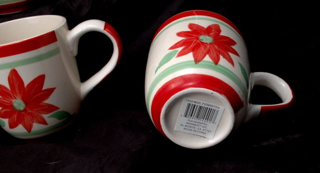 5 Hand painted  Poinsettia  Coffee  Ceramic  Mugs or Cups