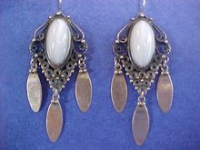 Pearly Pale Blue Lace Agate Cabochon Sterling Silver  Chandelier Earrings