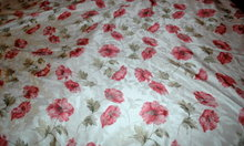 Damask Table  Linen Cloth White with Red Poppies 102