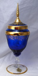 A Florentine Original Blue / Gold Glass Footed Urn - Elegant  Apothecary Jar Shaped
