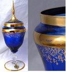 A Florentine Original Blue / Gold Glass Footed Urn - Elegant  Apothecary Jar Shaped